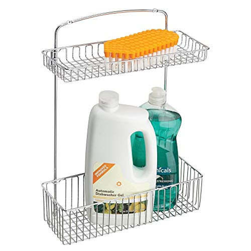 mDesign Metal Farmhouse Wall Mount Kitchen Storage Organizer Holder or Basket - Hang on Wall Under Sink or Cabinet Door in KitchenPantry - Holds Dish Soap Window Cleaner Sponges - Chrome