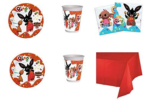 Party Store web by casa dolce casa New Bing Coordinato ADDOBBI Festa - Kit n°1 CDC-(8 Piatti,8 Bicchieri, 20 TOVAGLIOLI,1 TOVAGLIA Monocolore)