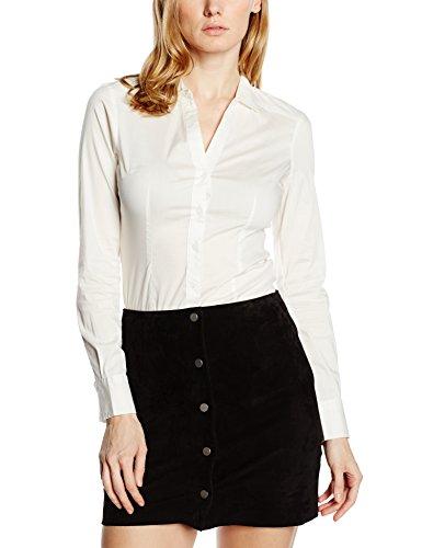 VERO MODA Damen VMLADY L/S G-String Shirt NOOS Bluse, Weiß Snow White, 40 (Herstellergröße: L)