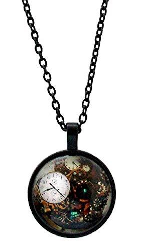 Steampunk Reloj de bolsillo retro vintage tipo reloj colgante collar cadena negra regalo disfraz joyería para mujeres niñas señoras – reloj no es real