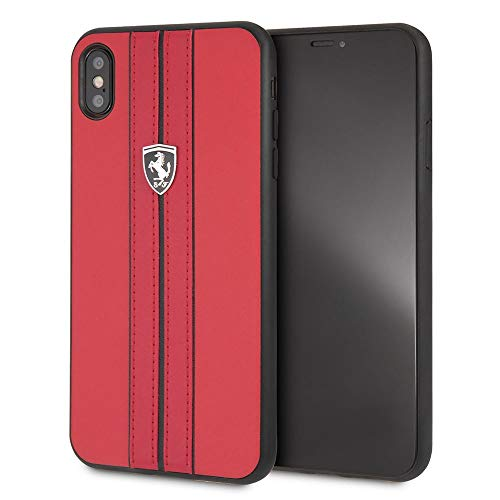 CG Mobile iPhone Xs Max Ferrari Cell Phone Case, Off Track Collection, Red PU Leather Hard Case with Contrasting Black Stitching finishes, TPU Rubber Frame, and Easily Accessible Ports