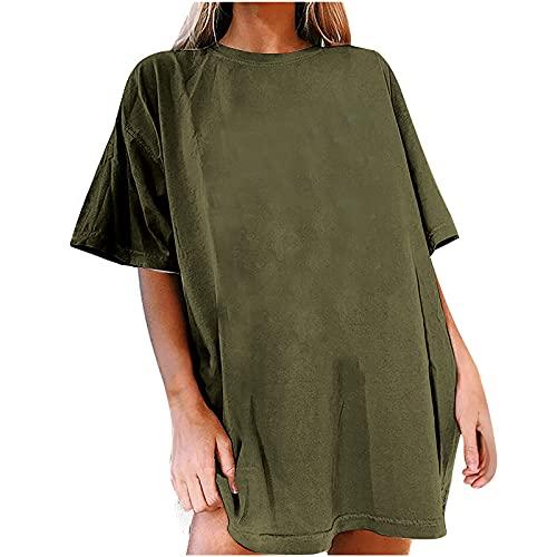 Blusa punk para mujer, parte superior de verano, cuello redondo, camiseta para mujer, camiseta vintage estampada, túnica de manga corta, camiseta básica y camiseta de verano, Verde militar, L