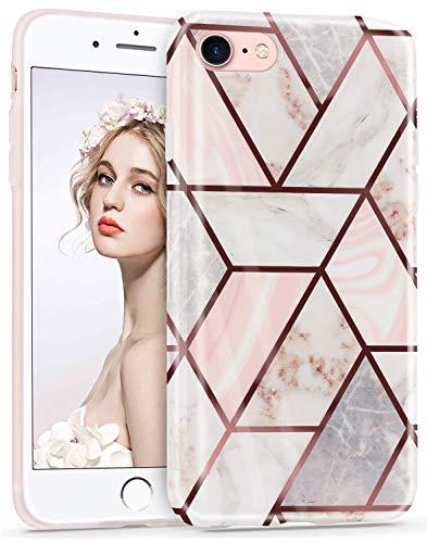 Imikoko Hülle für iPhone 7/iPhone 8/iPhone SE(2020) Glitter Bling Rosegold Handyhülle Schlank Schutzhülle Handytasche Case Handy Hülle