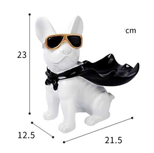 DAJIADS beeldje beeldjes beeldjes beeldje beeldje sculpturen Boeddha, grappig met mantel hond hars beeldhouwwerk decoratie Bulldog dragen zonnebril huis decoratie Opbergdoos Cool hond C