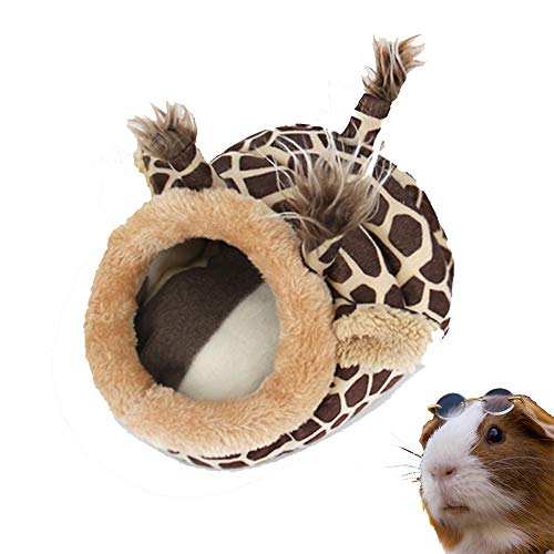 PULEIDI Guinea Pig Bed - Washable Guinea Pig Cage Accessories Small Animal Bed Hideout for Guinea Pig,Chinchilla,Hamsters,Hedgehog - Giraffe Style