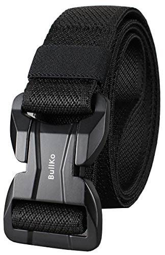 Bullko Mens Tactical Military Nylon Web Gun Stretch Belt Magnetic Quick Release Buckle Black