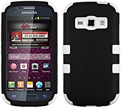 Insten Tuff Dual Layer [Shock Absorbing] Protection Hybrid Rubberized Hard PC/Silicone Case Cover Compatible with Samsung Galaxy Prevail 2 Boost Mobile/Ring SPH-M840 (Virgin Mobile), Black/White