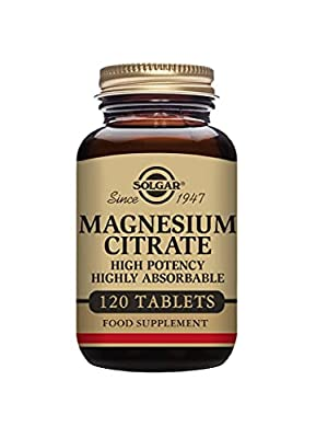 Solgar Magnesium Citrate Tablets - Supports the Nervous System - Energy Release - Reduces Tiredness and Fatigue - Vegan - Pack of 120 Tablets