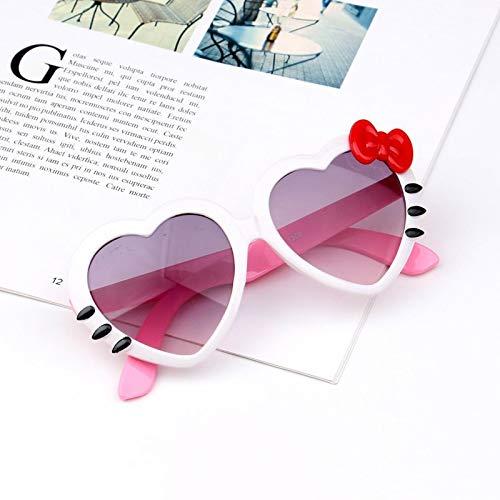 Gafas de sol para niños, diseño de corazón y lazo, UV400 (color del marco: multicolor, color de las lentes: rosa rojo)