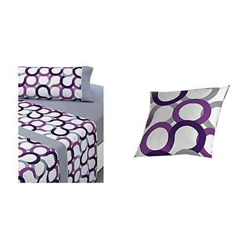 Sabanalia - Juego de sábanas Estampadas Aros (Disponible en Varios tamaños y Colores), Cama 90, Lila + Cuadrante para Colcha Aros - 50 x 50, Lila