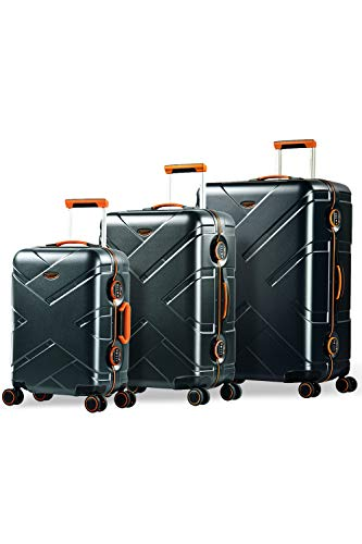 Eminent Gold Juego de Maletas Crossover Set 3 Maletas de Viaje (Cabina + Mediana + Grande) Rígidas Policarbonato & Marco de Aluminio 4 Ruedas Dobles 360° Doble Cierre TSA Grafito/Naranja