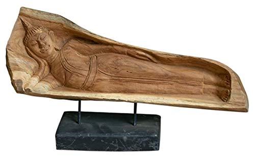 Desktop-Skulptur Thailändische Buddha-Skulptur-Statue, Liegestütze Buddha-Holzschnitzerei Buddha-Statue Massivholz handgeschnitzte Handwerk Buddhistische Zen-Gartentisch-Dekoration
