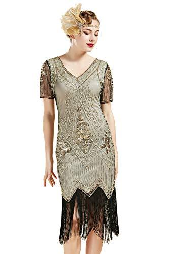 ArtiDeco - Vestido de mujer estilo años 20 con mangas cortas, disfraz de Gatsby para fiestas temáticas beige dorado. M-36/38/40