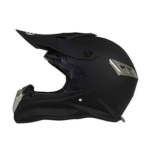 Mangen Casque de Moto Motocross Cross intégral Vélo Off-Road VTT Noir Mat (M)
