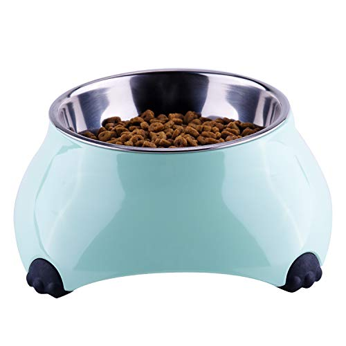 Super Design Small Dog Bowl, Cat Dish, Stainless Steel Pet Bowl with Melamine Stand for Puppy and Kitty
