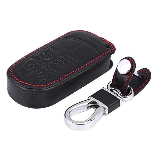 Akozon Universal 4 botones de cuero de la PU Cubierta del bolso del almacenamiento del tenedor del llavero del tenedor del caso del llavero del coche Negro