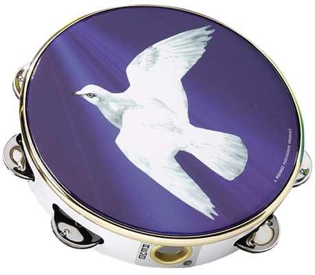 Remo Tambourine, 8-Inch, Religioese Dove