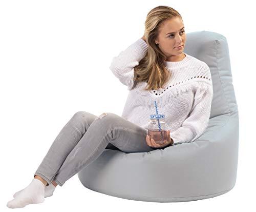 sunnypillow Gaming Sitzsack XXL mit Styropor Füllung Outdoor & Indoor für Kinder & Erwachsene Sitzsäcke Sitzkissen Bodenkissen viele Farben zur Auswahl Grau