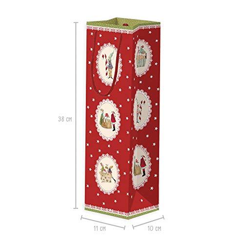 Set van 3 geschenkzakjes voor flessen van papier met groot handvat, papieren zakjes, flessenzak, wijn, geschenkverpakking, geschenkzakje, papieren zakje Kerstmis, adventskalender