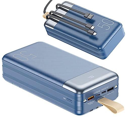 AMAZOM Power Bank, PD USB C 20W Cargador Portátil Incorporado 4 Cables, Power Bank 50000Mah Cargador De Teléfono con Pantalla LED, Batería Externa Puerto De Carga Rápida Dual