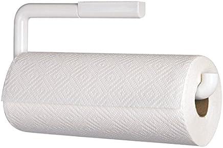 mDesign Portarrollos de cocina para pared – Soporte para rollo de papel – El perfecto aplique de pared para rollo de cocina – Accesorios de cocina - Color blanco