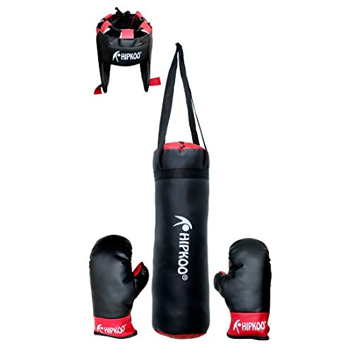 Hipkoo Sport Kid Boxing Kit for Small Girls/Boys Boxing Gloves (Small Boys, Black)