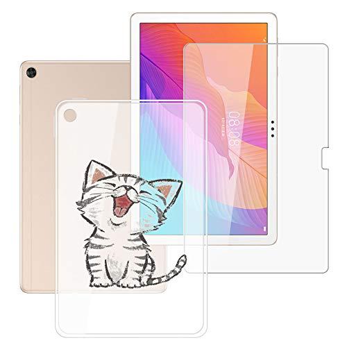 HHUAN Tableta Funda para Huawei Enjoy Tablet 2 10.1 Pulgadas con Cristal Templado Protector de Pantalla, Semi-Transparent Soft Silicone Carcasa TPU Cover Case - Gato de la Fiebre