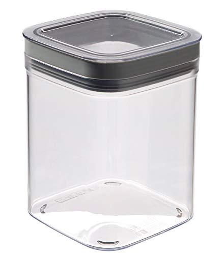 Curver - Dry Cube Tarro Hermético con Tapa para Conservar Alimentos en Seco 1,3L. - Color Transparente / Gris