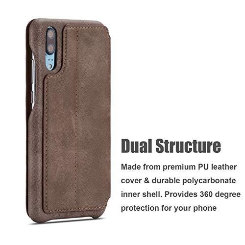 QLTYPRI Huawei P30 Hülle, Premium PU Leder Handyhülle Ultra Dünne Ledertasche Magnetverschluss Standfunktion & Kartenfach Wallet Case Flip Schutzhülle für Huawei P30 - Braun - 5