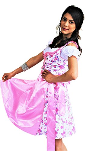 Bavarian Clothes Dirndl Damen Rosa Trachtenkleid 3 teilig 053 Midi Dirndl mit Dirndlbluse und Dirndlschürze geblümt, Pink Weiß (Größe 40)