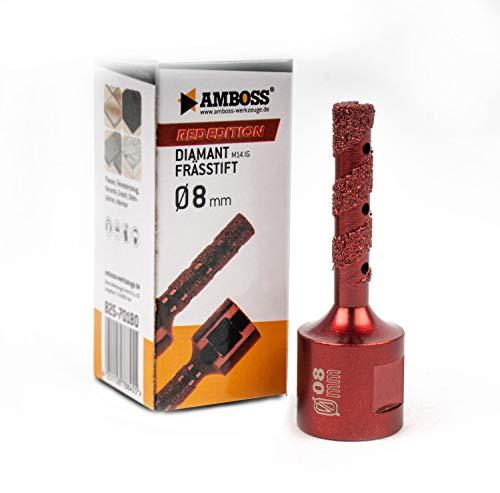 Amboss RED EDITION M14 Diamant Bohrkrone - für Winkelschleifer - Feinsteinzeug, harte Fliesen, Granit/Die ideale Trockenbohrkrone (Ø 8 mm (Schleiffinger))