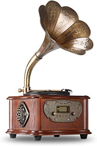 LuguLake Plattenspieler, Retro-Plattenspieler mit drahtlosem Bluetooth 4.0-Lautsprecher, Kupferhorn, 3,5-mm-AUX-Eingang / USB / FM, tolles Sammlungsgeschenk für Familie und Freunde