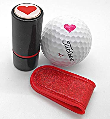 Finish It! 3-in-1 Golf Gifts Bundle - Precision Golf Ball Stamp with Stylish Matching Golf Ball Marker and Magnetic Ball Marker Clip Holder, Tops in Golf Accessories, Heart