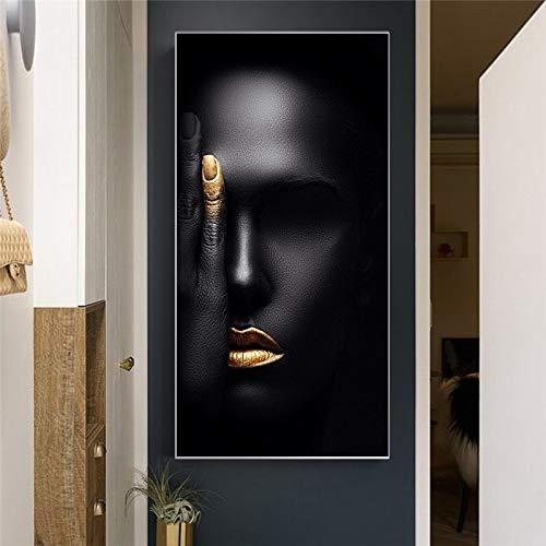 KWzEQ Abstraktes nordisches nordisches skandinavisches Frauengesichts-Leinwandporträt-Wohnzimmerwandbild,Rahmenlose Malerei,75x150cm