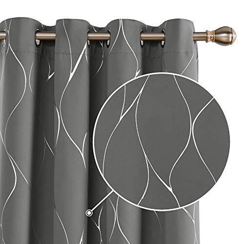 Deconovo Cortinas Opacas Diseño de Rayas Plateadas para habitación con Ojales 2 Piezas 140 x 175 cm Gris Claro