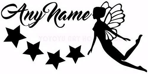 Personalisierte Name Fairy Stars Wandaufkleber Jeder Name Customade Mädchen Schlafzimmer Wanddekor Decals Art Vinyl Wandbild Für Kindergarten 57X30 Cm