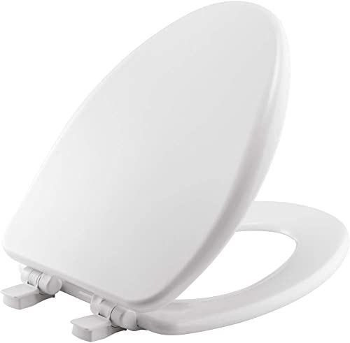 lowest BEMIS 19170PLE4 000 Alesio II Toilet Seat with online Slow Close, Never Loosen and Provide the Perfect Fit, ELONGATED, High discount Density Enameled Wood, White online sale