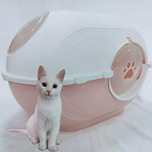 猫トイレ 猫 トイレ デオトイレ スコップ付 上から猫トイレ ドーム ワイドサイズ 清潔 大型猫 優れた耐久性 2WAY出入り方法 ニオイの広がり防止 砂の飛び散り防止 速い掃除 脱臭・抗菌 猫用品 (ピンク)