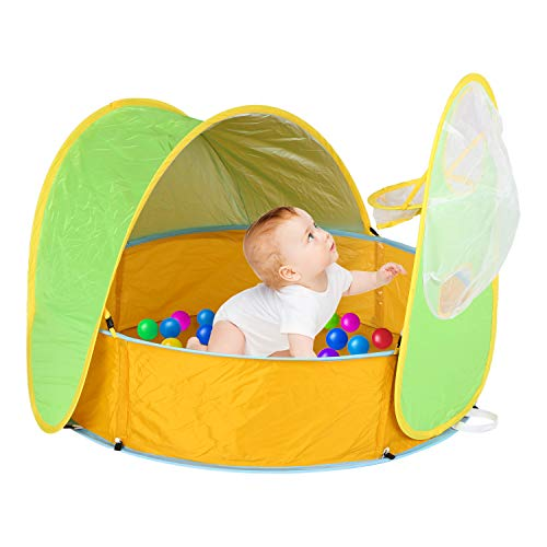 Baby Beach Tent Kids Ball Pit Play Tent Pool Portable Popup Shade Pool Play Tent UV Protection Sun Shelter Pool Ball Pool with Basketball Hoop and Storage Bag Paddling Pool for Child 2 in 1 (Green)