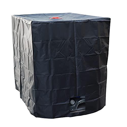 TeeTree Cubierta para depósito de agua IBC con orificio en color negro – Funda protectora de lona de protección UV para tanque IBC de agua de lluvia contenedor contenedor contenedor