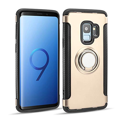 UEEBAI Case for Galaxy S7 Edge,Ultra Slim Shockproof TPU+PC Case Anti-Scratch Back Cover with 360 Degree Rotatable Ring Kickstand Used As an in-car Phone Holder for Samsung Galaxy S7 Edge - Gold