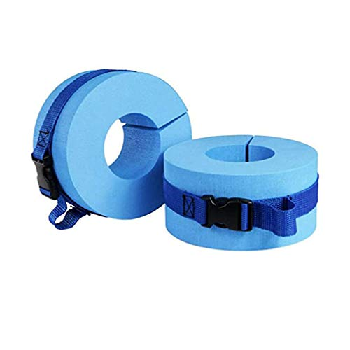 HNJZXSwimming Float Discs Swim Arm Bands Pool Set Foam Floats Sleeves Safety Swimming Arm Band for Childrens Kids/Adult Beginners Aquatic Training and Aqua Exercise Equipment Lightweight (Blue)
