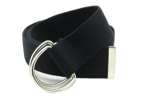 """Canvas Web Belt Double D-Ring Buckle 1.5"""" Wide with Metal Tip Solid Color (Black M)"""