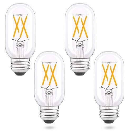 4W T45/T14 Dimmable E26 LED Bulbs, Warm White 2700K, AIELIT Tube LED Light Bulb 40 Watt Equivalent, Vintage Edison Filament Bulb for Makeup Mirror Bathroom Vanity Ceiling Fan Pendant Lights, 4-Pack