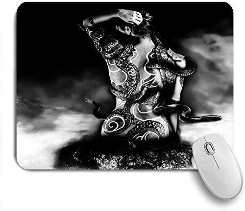 GEEVOSUN Mauspad,Office Mauspad(240 * 200mm),Mädchen Yakuza Tattoo einer Schlange aus einem Clan Sinoby sitzt auf einem Stein bei Wasser Fantasie,Rutschfeste Mousepad Matte für PC