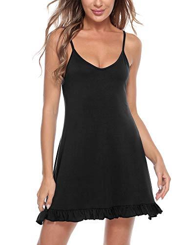 Doaraha Camisón Mujer Algodón Modal Suave Verano Corto Sexy Sin Manga Correas Ajustables Pijamas Camisones Camisolas Ropa de Dormir Vestido Ligero Mini Cami Dress (Negro, XL)