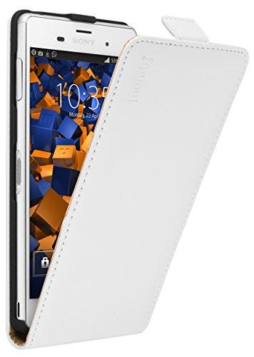 mumbi PREMIUM Leder Flip Case für Sony Xperia Z3 Tasche weiss