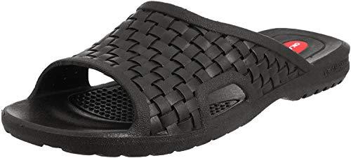 Okabashi Men's Torino Slides (Black, ML) | Basket-Woven, Open-Toe Design | Nice Men's Slides w/Arch Support
