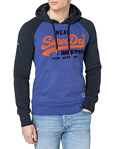 Superdry Mens VL Duo Raglan Hood Hooded Sweatshirt, Dark Cobalt Marl, 2XL