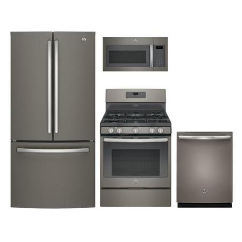GE 4-Piece Package with GNE25JMKES 33' French Door Refrigerator, JGB660EEJES 30' Freestanding Gas Range, JVM6175EKES 30' Over the Rage Micorwave Oven and GDT655SMJES 24' Built In Dishwasher in Slate